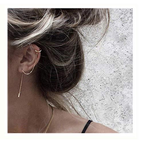 SLUYNZ 925 Sterling Silver Cuff Chain Earrings Wrap Tassel Earrings for Women Crawler Earrings (Yellow Gold)