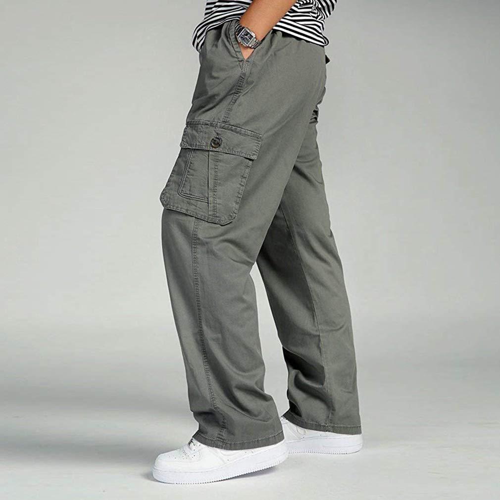Mxssi Pantaloni Sportivi da Uomo Pantaloni Cargo con Ampi Pantaloni Elastici di Grandi Dimensioni con Tasca XL-6XL