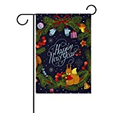 My Little Nest Happy New Year Wreath With Decorations Squirrel House Flag Party Yard Decorative Double Sided Polyester Large Garden Flag Banner 28×40″ For Sale
