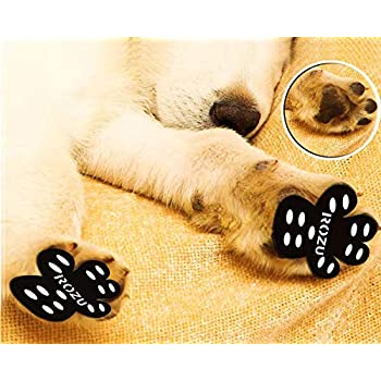 ROZU Dog Paw Protection Pads-Anti Slip Pet Paw Protector Traction Pads Disposable Self Adhesive Dog Shoes Walking Assistant for Hardwood Floors, 6 Sets, 24 Pieces (S, Black)