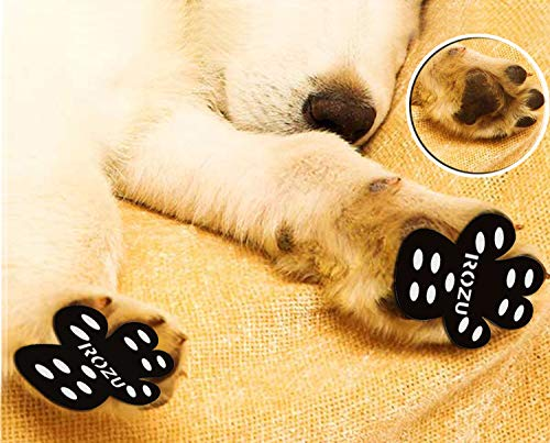 ROZU Dog Paw Protection Pads-Anti Slip Pet Paw Protector Traction Pads Disposable Self Adhesive Dog Shoes Walking Assistant for Hardwood Floors, 6 Sets, 24 Pieces (L, Black)