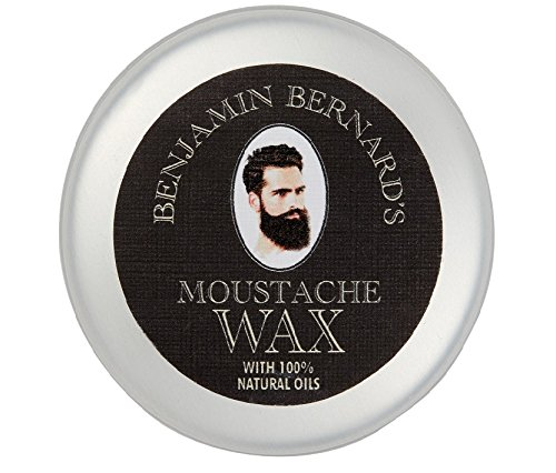 Finest Strong Mustache Wax by Benjamin Bernard: Long Lasting, Easy to Apply – Contains Natural Wax, Jojoba Oil, Avocado Oil - Fresh Scent - 0.85Fl.oz/25 ml BEN00004