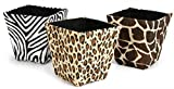 Darice DAR012ST1 Paper Bin, Square, Animal Prints, 3 Assorted, 6.25''