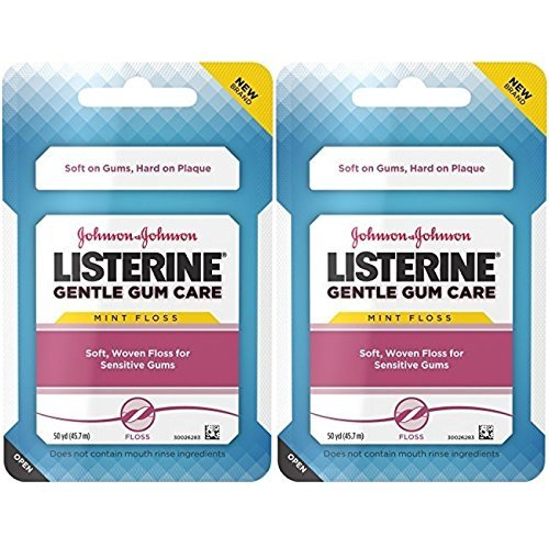 Listerine Gentle Gum Care Woven Floss With Cinnamon 50 Yards (Pack of 2) (Woven Mint)