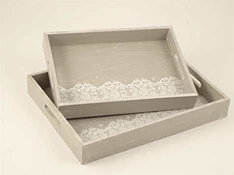 Vassoi In Legno Fai Da Te : Set 2 vassoi quadrati in legno grigio whitewash con pizzo bianco