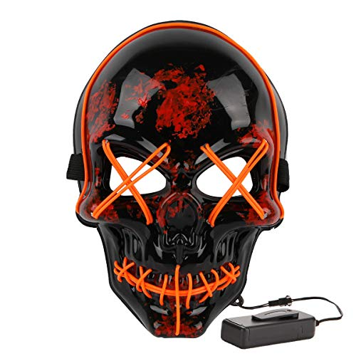 Halloween Costume Festival Parties Scary Mask LED Light Up Masks (Skull Orange)