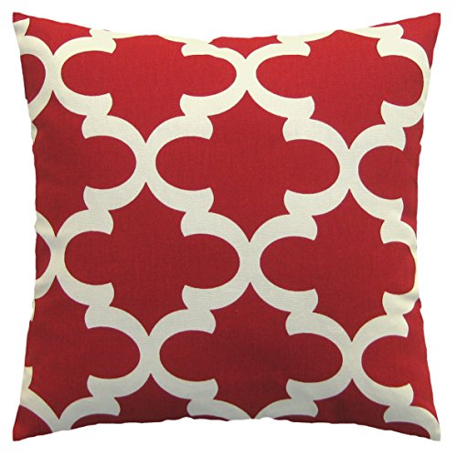 JinStyles Accent Decorative Throw Pillow Cover, Square, Print, Red, 16 x 16, 1 Cover ()
