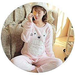 colorful-space Conjunto de Pijama para Mujer, Pijama cálido para Mujer, Pijama para el hogar, Pijama para Gato y Mujer, Pink Totoro, M