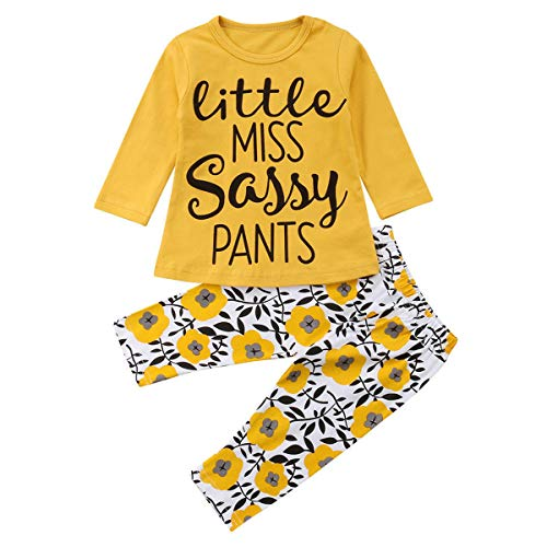 Toddler Baby Girl Set Cotton Letter Print Long Sleeve Tops + Floral Pants 2Pcs (9-12 ()