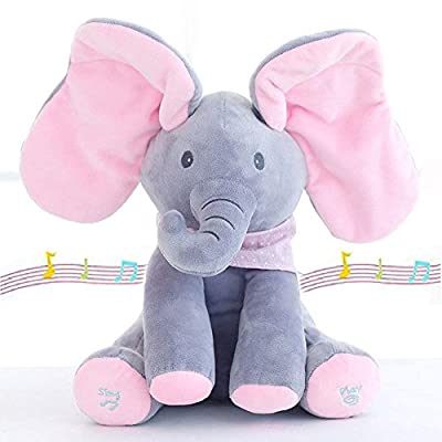 "Plush Toy for Baby - Peek-a-Boo ""Elfie the Elephant"" Animated Talking & Singing Stuffed Musical Feature for Boys & Girls 