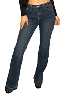 New Ladies Womens Black Faded Bootcut Flared Hipster Stretch Jeans Frayed Ends