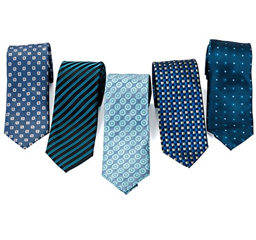 5 Dress Tie Set - 5 Men's Neckties And 2 Classy Tie Bars In Gift Box By Pointed Designs (Set 1 Blue)