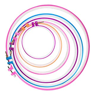 6PCS Embroidery Hoops,BS Adjustable for 5 inch to 12 inch Multicolor Circle Cross Stitch Hoop Rings for Embroidery and Cross Stitch Christmas Ornaments Art Craft Handy Sewing DIY Favor