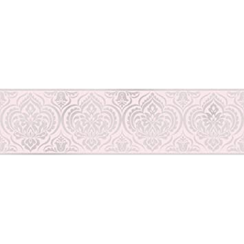 Fine Decor Glitz Ornamental Damask Glitter Wallpaper Border Pink