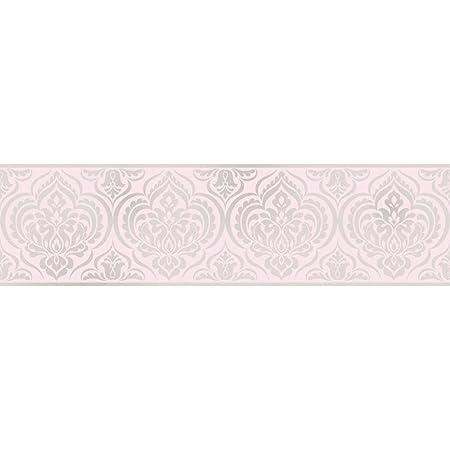 Fine Decor Glitz Ornimental Damask Wallpaper Border Pink Silver