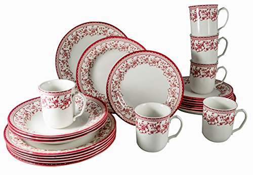 Tudor 24-Piece Porcelain Dinnerware Set, Service for 6 - ASTER PINK, Royal Classic Red collection;Special OFFER; See 10 Designs INSIDE!
