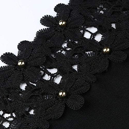 Donne Estate feiXIANG Corte estive da Shirt da Donna Camicetta Pizzo Elegante Nero Donna Forti Divertenti Donna Maglia Taglie Magliette Maglietta T Manica Shirt Maniche Donna Corte Top r4w5qrAZ