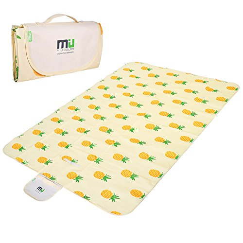 """MIU COLOR Large Outdoor Picnic Blanket - Baby Crawling Mat Sand-proof and Waterproof Picnic Blanket Tote 78""""x57"""" Pineapple Beach Blanket for Camping,Hiking,Grass,Travelling"""
