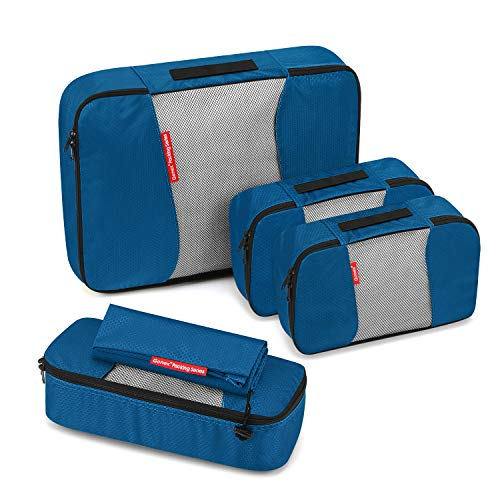 Travel Packing Cubes, Luggage Organizers L+M+2Slim+Laundry Bag Deep blue