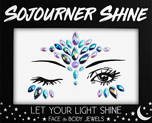 Face Jewels Glitter Gems Rhinestones – Eye Body Jewels Gems | Rhinestone Stickers | Body Glitter Festival Rave & Party Accessories by SoJourner (Unicorn Tears) -