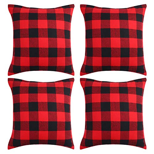 Aneco 4 Pack 18 x 18 Inch Pillow Covers Red and Black Plaid Cushion Classic Tartan Linen Pillow Case (Covers Bed Red)