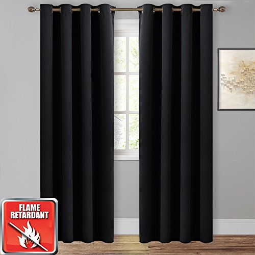 NICETOWN Black Blackout Flame Resistant Curtains- (Black Color) W52 x L84, 1 Pair, Thermal Insulated Blackout Room Darkening Draperies Fire Retardant Panels with Grommet