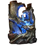 Tree Trunks Waterfall Fountain with LED Light (small) Made w/ Resin, Stone Powder and Fiberglass in Brown Color 14'' H x 10'' W x 7'' D