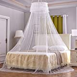 RuiHome Round Hoop Kids Bed Canopy with Hanging Kit Dome Mosquito Net for Crib Single Twin Full Queen, White