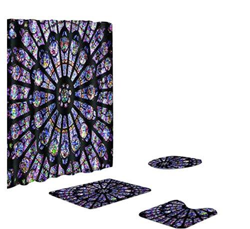 - 4pcs Notre Dame De Paris Print Non Slip Bath Mat Set,Waterproof Bathroom Shower Curtain Rug Toilet Lid Cover Bath Mat