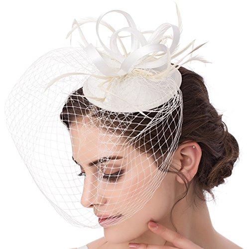 Abaowedding Feather Fascinator Cocktail Party Hair Clip Pillbox Hat B Ivory TS002]()