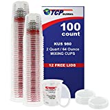 Custom Shop Box of 100 64 Ounce 2 Quart Graduated Paint Mixing Mix Cups