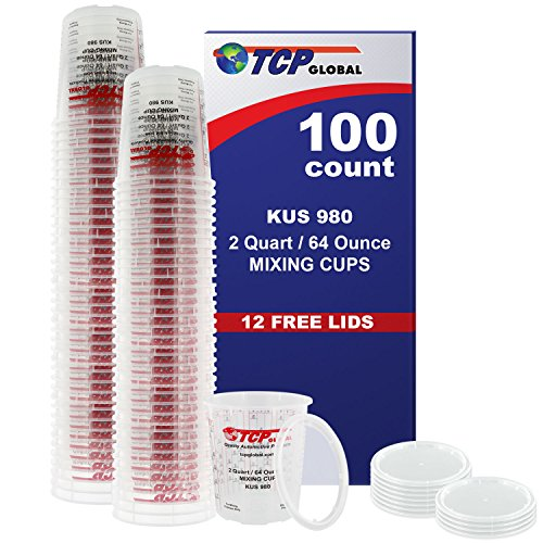 Box of 100 - Custom Shop 64 Ounce (2 Quart) Graduated Paint Mixing Mix Cups