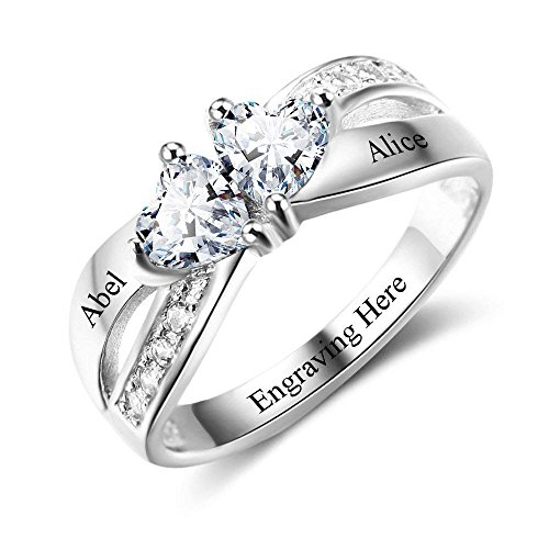 Lam Hub Fong Personalized Engagement Rings for Women 2 Simulated Birthstones Promise Rings for Her Couples Name Rings Valentines Day Jewelry for Women (8) -