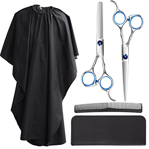 Barber Scissors - Frcolor Hair Cutting Scissors Set, Professional Haircutting Scissors Barber Thinning Scissors Hairdressing Shears Set with Black Leather Case and Salon Cape