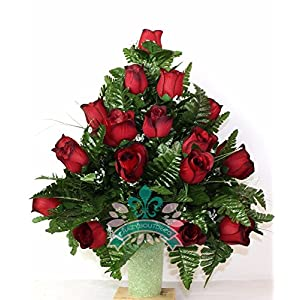 XL Classic Red Roses Cemetery Flower Arrangement for a 3 Inch Vase 15