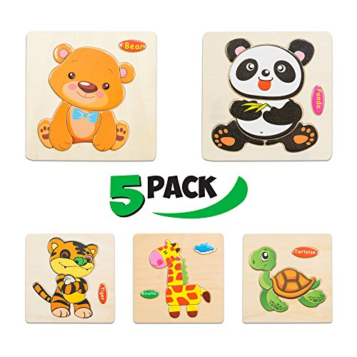 - Wooden Puzzles for Toddlers - New Set of 5 Kids Puzzles - Baby Puzzles Age 3+ Toddlers Puzzles for Boys and Girls - in The Zoo Set - Tiger - Panda - Bear - Giraffe - Tortoise - 2018 New 37 pcs.