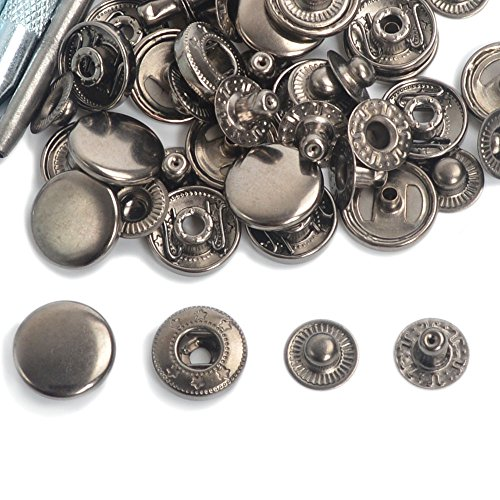 Gunmetal poppers of different sizes and styles.