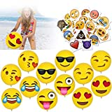 Konsait 12inch Emoji Party Pack Inflatable Beach Balls(12pack) Temporary Tattoos(40pcs) for Boys Girls Kids Funny Emoji Body Stickers for Beach Pool Party Toys Emoji Themed Party Favors Supplies