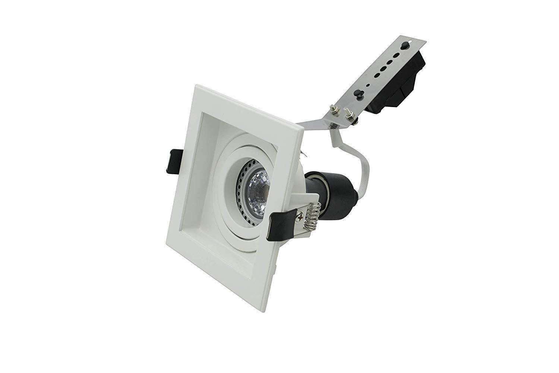 Lampenlux in alluminio lampadina LED non inclusa colore: Bianco orientabile e girevole Faretto da incasso Spot Scout quadrato