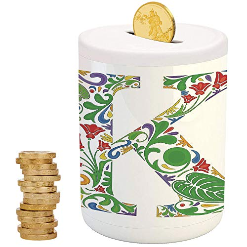 Letter K,Piggy Bank,Printed Ceramic Coin Bank Money Box for Cash Saving,Vivid Color Scheme Natural Inspirations Flowers Leaves Stalks Uppercase K Alphabet Decorative