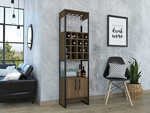 Tuhome Furniture Magnum Home Bar and Wine Cabinet in Weathered Oak and Gunmetal