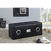 ACME Furniture 96528 Laila Sound Lounge Bench with Bluetooth Speaker, Black PU