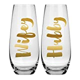 Hubby Wifey Champagne Glass Set - 10 oz Stemless Champagne Glasses (Perfect Wedding Gift or Newlywed Gift)