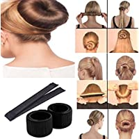 DALUCI Hair Styling Donut Bun Maker Former Foam French Twist Magic Tool For Women & Girls (Color:Black)