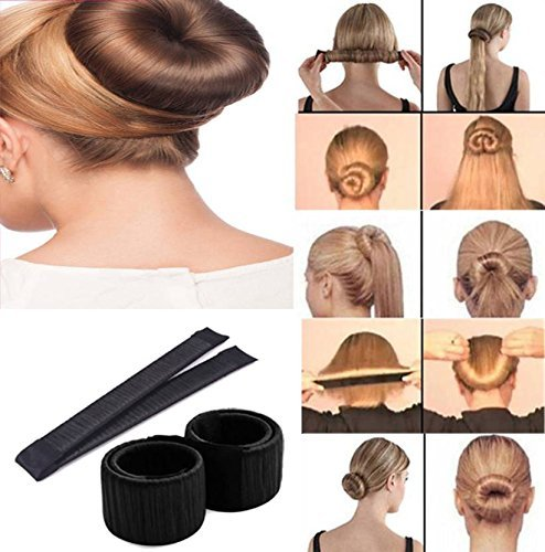 DALUCI Hair Styling Donut Bun Maker Former Foam French Twist Magic Tool For Women & Girls (Color:Black) product image