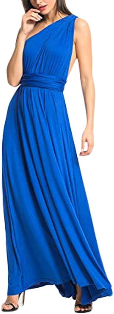 TALLA S(ES 36-40). FeelinGirl Mujer Vestido Maxi Convertible Espalda Decubierta Cóctel Multiposicion Tirantes Multi-Manera Largo Falda para Fiesta Ceremonia Sexy y Elegante Azul S(ES 36-40)