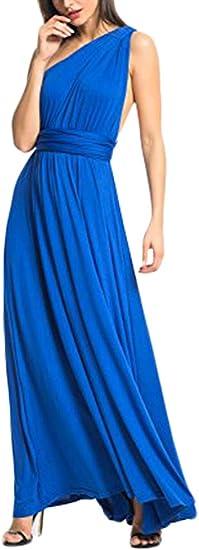 TALLA XL(ES 46-50). FeelinGirl Mujer Vestido Maxi Convertible Espalda Decubierta Cóctel Multiposicion Tirantes Multi-Manera Largo Falda para Fiesta Ceremonia Sexy y Elegante Azul XL(ES 46-50)