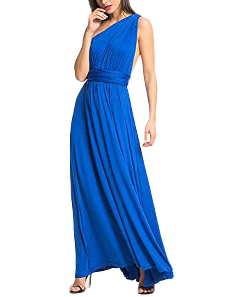 TALLA L(ES 44-46). FeelinGirl Mujer Vestido Maxi Convertible Espalda Decubierta Cóctel Multiposicion Tirantes Multi-Manera Largo Falda para Fiesta Ceremonia Sexy y Elegante Azul L(ES 44-46)