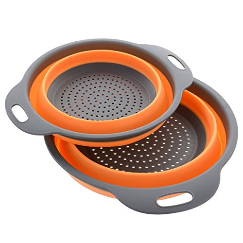 Collapsible Colander / Kitchen Strainer Set of 2 Premium Food-Grade Silicone Large Sizes 4&5 Quarts Space Saver/Dishwasher Safe/Heat Resistant BPA Free/Non-Slip Handles/2 different colors (Orange)