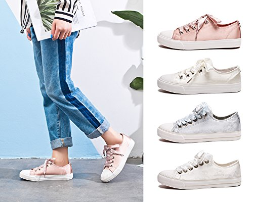 Pictures of ZGR Womens Fashion Canvas Sneaker Low Cut Pink 9 M US 7